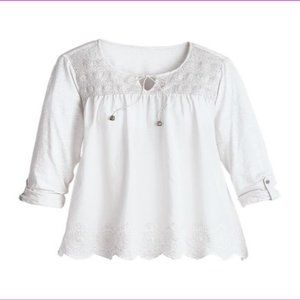 Ladies' Roll Tab Sleeves Casual Woven Blouse